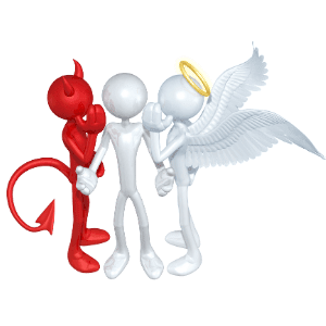 a devil and an angel whispering in a persons ear