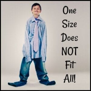 """a boy with adult clothes on """"one size does not fit all"""