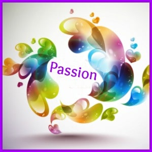 colorful hearts circeling the word passion