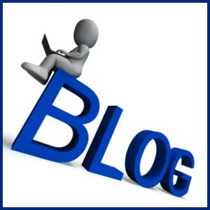 little white man character sitting on a blue word blog
