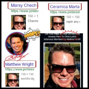 different names that match the same face of Chris Luck