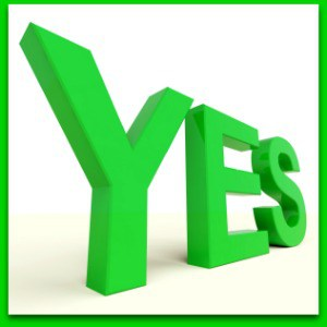 word yes in green