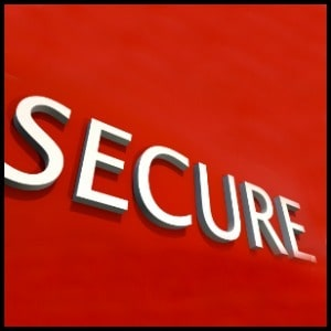 word secure on a red background