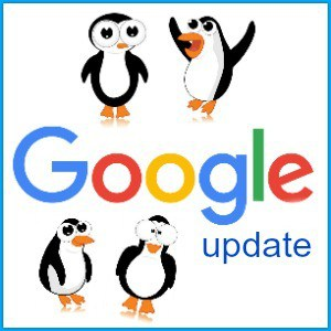 word google with penguins around it