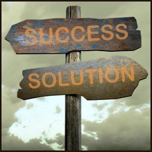 sign with success and solution