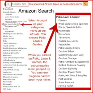 screenshots of amazon search on how to find your business niche