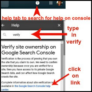 instructions on how to verify site with google console