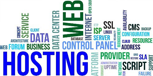 a colloge of words relating to web hosting