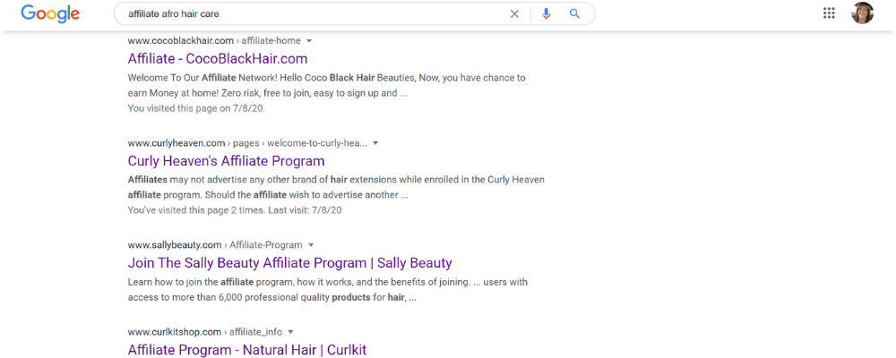 afro hair care affiliate search