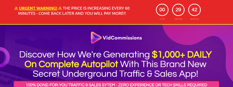 screen shot of vid commissions sales page top