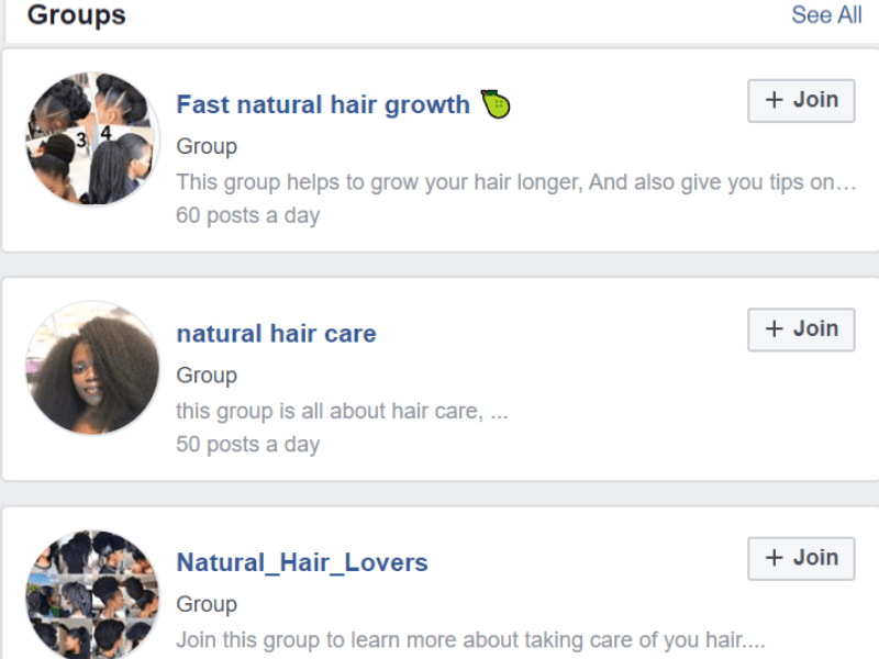 facebook groups on afro hair care