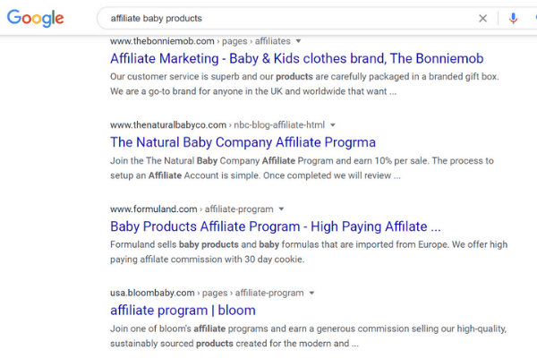 google search for affiliate baby products