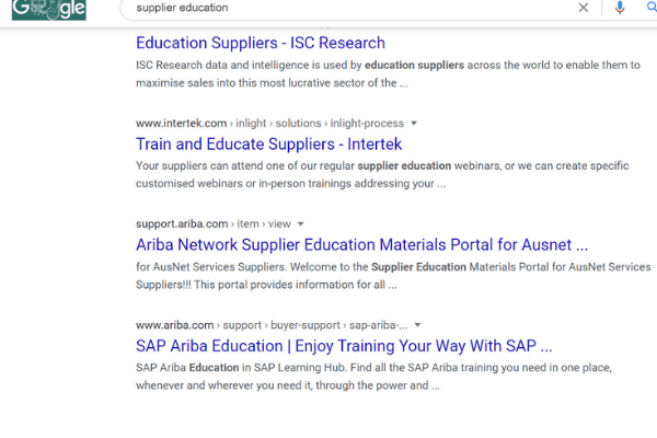 google search business supplier