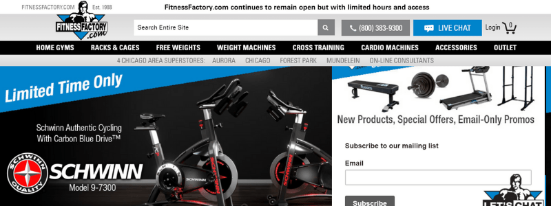fitness factory home page