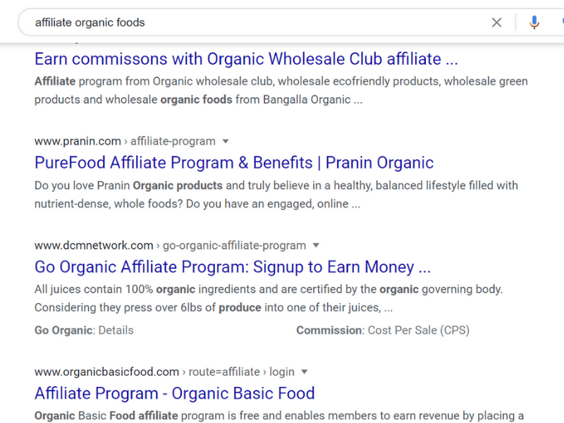 google search for affliate and organic foods