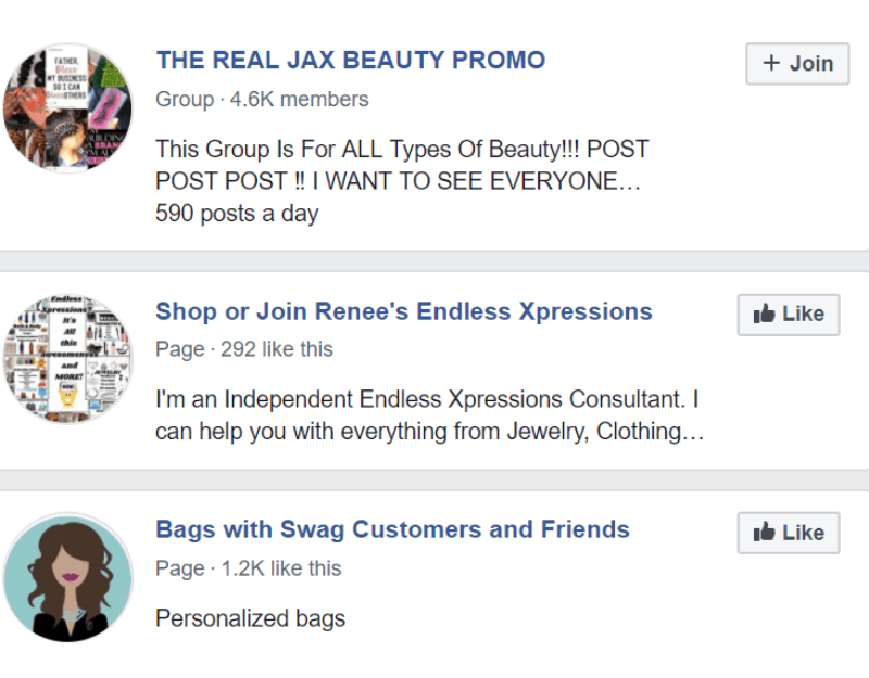 facebook search to join for luggage