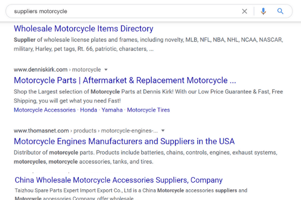 google search supplier motorcycle
