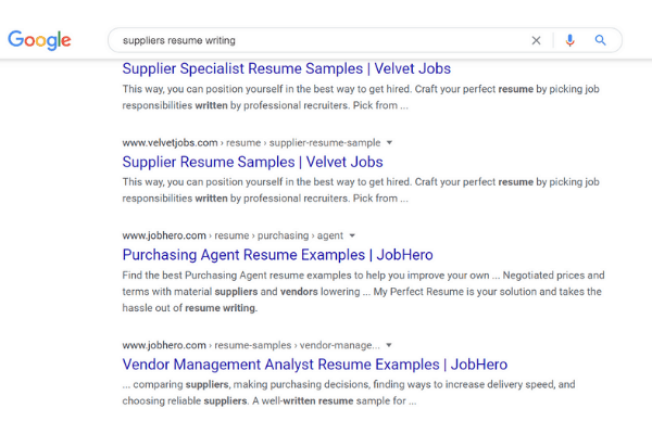 google search suppliears resume