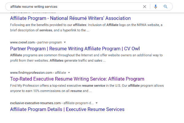 google search for resume writing services