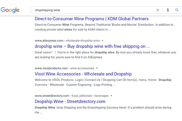 google search dropshipping wine