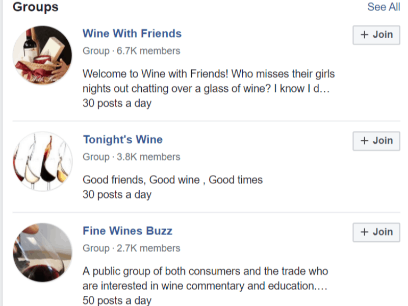 facebook search for wine groups
