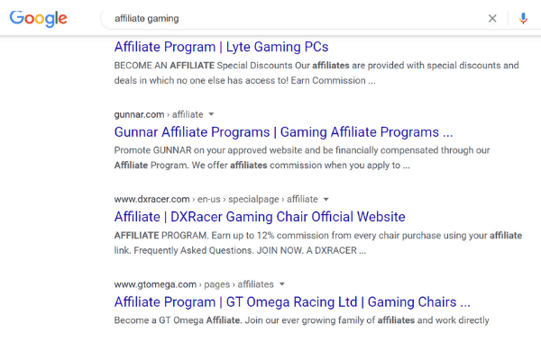 google search affiliate gaming